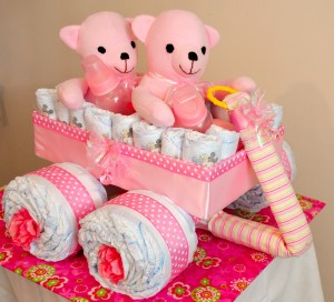 Twin Pink bear wagon