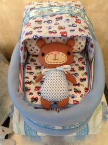 baby carriage cake with bear